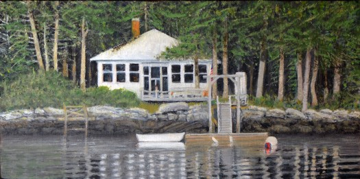 sm_Fishing Cottage Sheepscot River 6 X12 oil on archival panel 2016